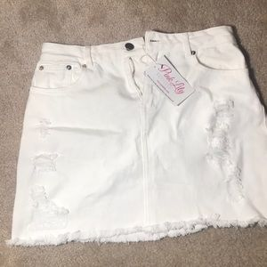 Distressed Denim Skirt White